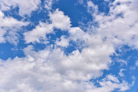 Beautiful white clouds on blue sky background. fluffy white clouds blue sky.