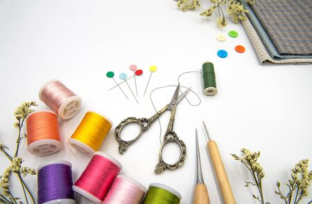Close-up, Sewing Items,Scissors , Textile, Art and craft, Quilt Equipment on white background.