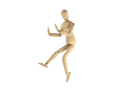 proportions of man: Wooden figure waver on white background. Stock Photo