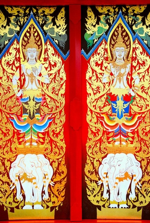 traditional textured: Details of Thai traditional style door painting. Stock Photo