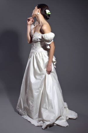Woman bride in the studio. . High quality photo.