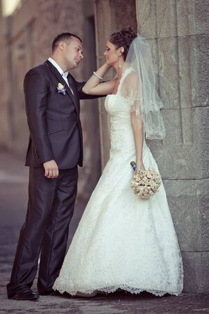 Wedding. Bride and groom on their wedding day. A pair of lovers. High quality photo.