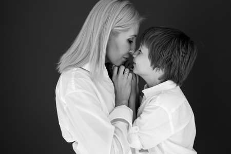 Mother and son. Black and white photo. High quality photo