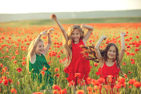 Group of happy children playing outdoors. Children have fun in the spring park. Girls run in the field with poppies. High quality photo.