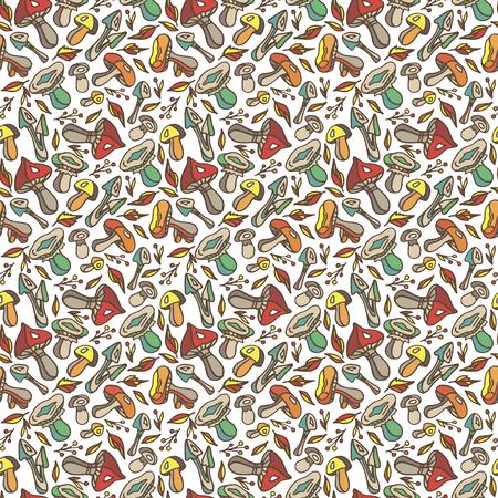 Automne. Imprimé d'automne. Champignons. Feuilles d'automne. Modèle sans couture d'automne. Fond de champignons
