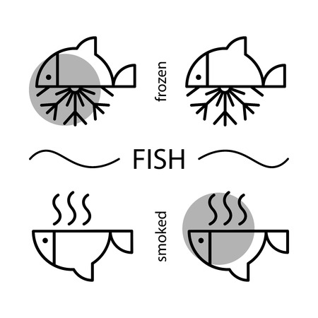 Fish. Frozen and smoked fish. Web icons. Line icons