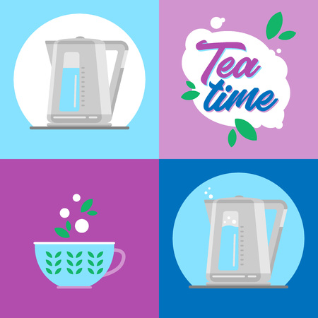 Electric kettle. Infographics. Icons. Time for tea