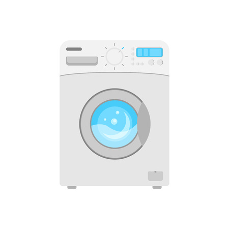 Home appliances. Washing machine. Vector drawing. Icon. Power on