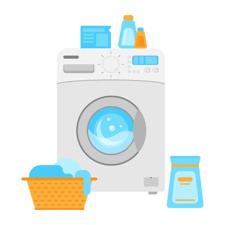 Electrodomésticos. Lavadora. Dibujo vectorial. Icono. Ropa sucia