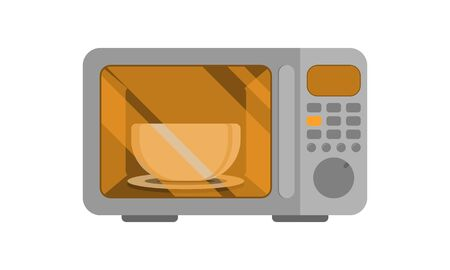 Microwave oven. Vector illustration. Power on. An automatic appliances used for cooking