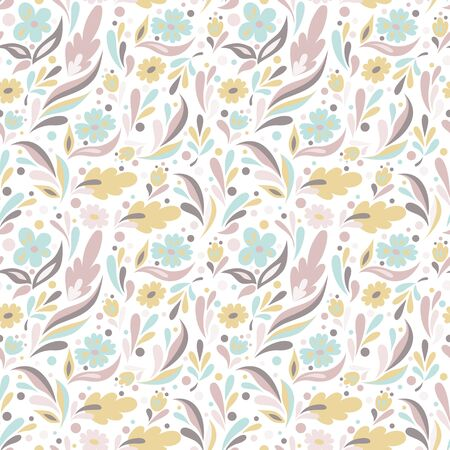 Seamless floral pattern in doodle style with flowers and leaves on white background. Pretty pastels colors