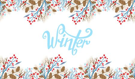 Winter Template design of banner for New Year and Christmas. Winter frame for text. Greeting card Stock Illustratie