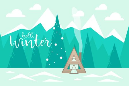 Hola invierno Paisaje de invierno con montañas, bosque y casa de madera. Ilustración vectorial