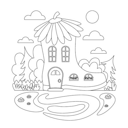 Coloring image for kids. Fairytale house. Summer illustration with a boot house. Vector. Silhouette linear image for kids coloring