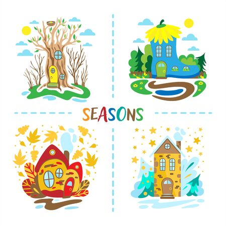 Four seasons illustration. Fairytale houses from spring, summer, autumn and winter. Educational illustration for little children. Doodle style