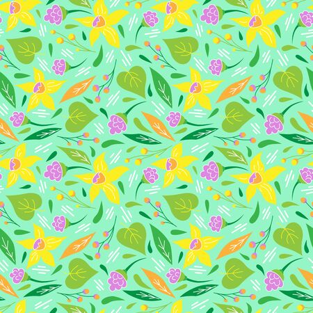 Summer seamless pattern. Floral print for textiles. Daffodils and plants on a light turquoise background. Doodle style Ilustração