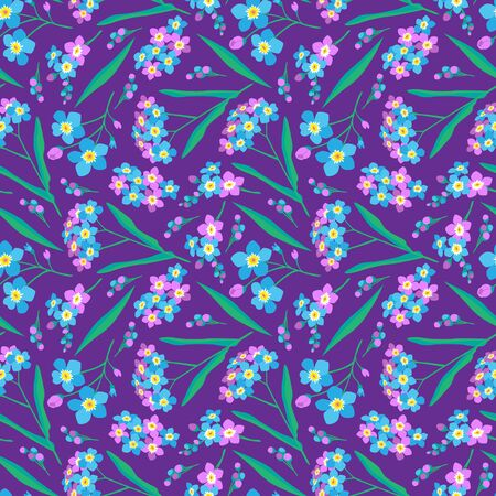 Summer seamless pattern. Floral print for textiles. Seamless pattern with wildflowers on purple background. Blue and lilac forget-me-not flowers