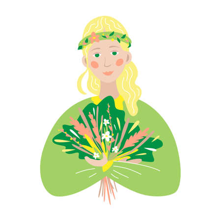Spring girl. Blonde girl with a bouquet of wildflowers. Vector illustration. Mother Nature Illustration
