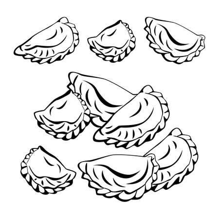 Food and convenience foods, a set of meat dumplings or pierogi. Vector sketch