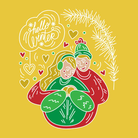 Winter holidays. Couple in love. Illustration for Christmas card, congratulations, banner, sticker