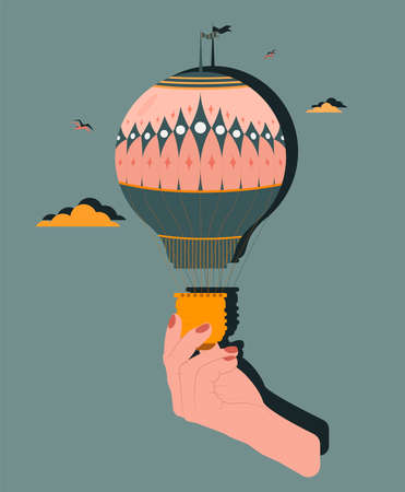 A light bulb is like a balloon in a woman's hand