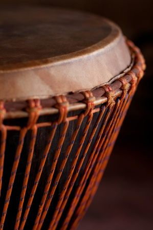 african drums: Close up of the Djembe head Stock Photo