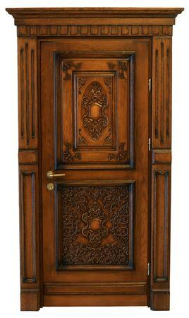 wood carving door: Wooden door with carving Stock Photo