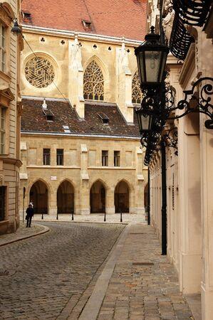 Paving street in Vienna near Church of the Minor Friars