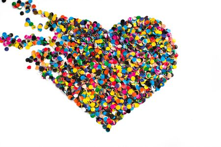 Variegated confetti heart isolated on white background Stock Photo
