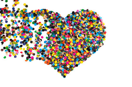 variegated: Variegated confetti heart isolated on white background Stock Photo