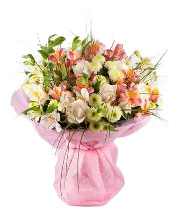 arreglo floral: Ramo de flores de primavera con un montón de flores diferentes Foto de archivo