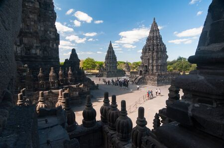 Prambanan temple, hindu temple in Indonesia of similar shape as Angkors temples in Cambodia Editorial