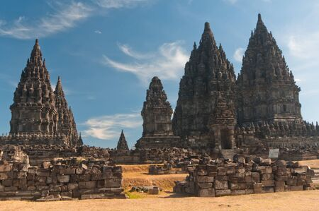 Prambanan temple, hindu temple in Indonesia of similar shape as Angkors temples in Cambodia Stock Photo