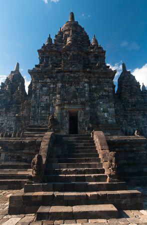 Prambanan temple, hindu temple in Indonesia of similar shape as Angkors temples in Cambodia Stock Photo