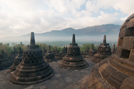 Borobudur temple at sunny morning. Central Java, Indonesia Stock Photo - 12883709