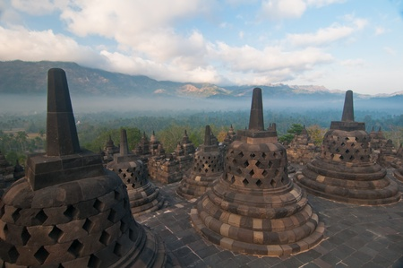 Borobudur temple at sunny morning  Central Java, Indonesia Stock Photo