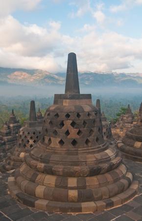 Borobudur temple at sunny morning  Central Java, Indonesia Stock Photo - 12883675
