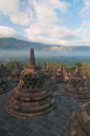 Borobudur temple at sunny morning  Central Java, Indonesia Stock Photo