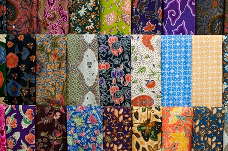 batik: Closeup of colorful batik, Yogyakarta, Central Java, Indonesia Stock Photo