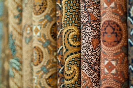 Closeup of colorful batik, Yogyakarta, Central Java, Indonesia Фото со стока