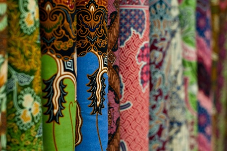 yogyakarta: Closeup of colorful batik, Yogyakarta, Central Java, Indonesia Stock Photo