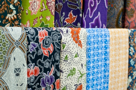 batik: Gros plan de batik color�, Yogyakarta, Java central, Indon�sie Banque d'images