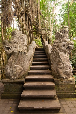 Stutue in Sacred Monkey Forest, Ubud, Bali, Indonesia