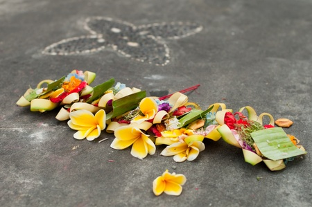 Hindu Daily Offering In Ubud, Bali, Indonesia Stock Photo
