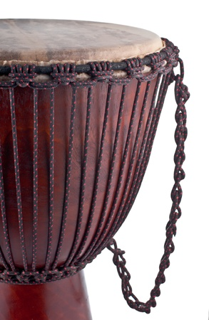 Close up of the djembe isolated on white background photo