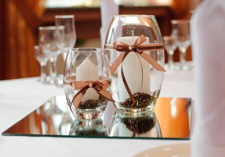 Festive table setting for wedding or other event photo