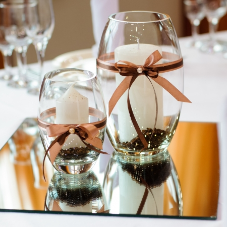 white napkin: Festive table setting for wedding or other event Stock Photo