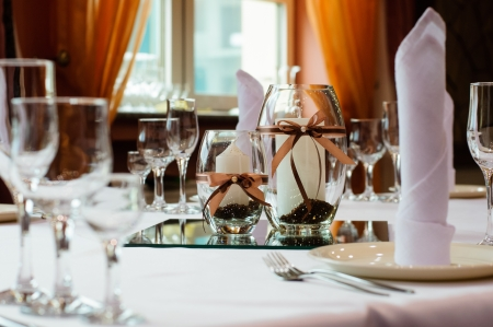 Festive table setting for wedding or other event Stock Photo