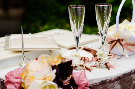 wedding party: Pair of wedding wineglasses on the table