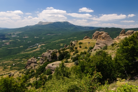 Sunny day on mountain plateau, Crimea, Ukraine